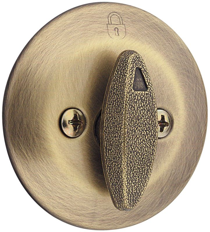 Kwikset 667 5 Antique Brass One Sided Deadbolt With Back