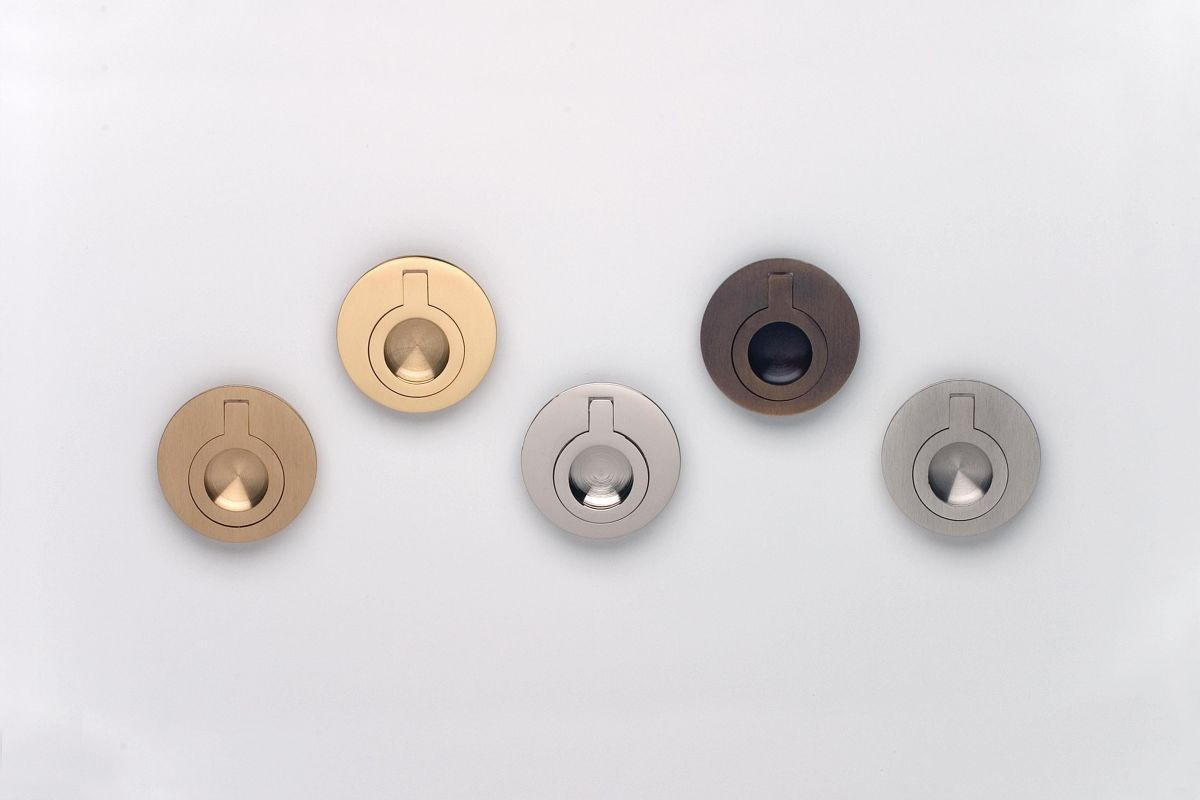 Omnia 9580 50 Us3 Polished Brass 2 Quot Ring Flush Pull Handlesets Com