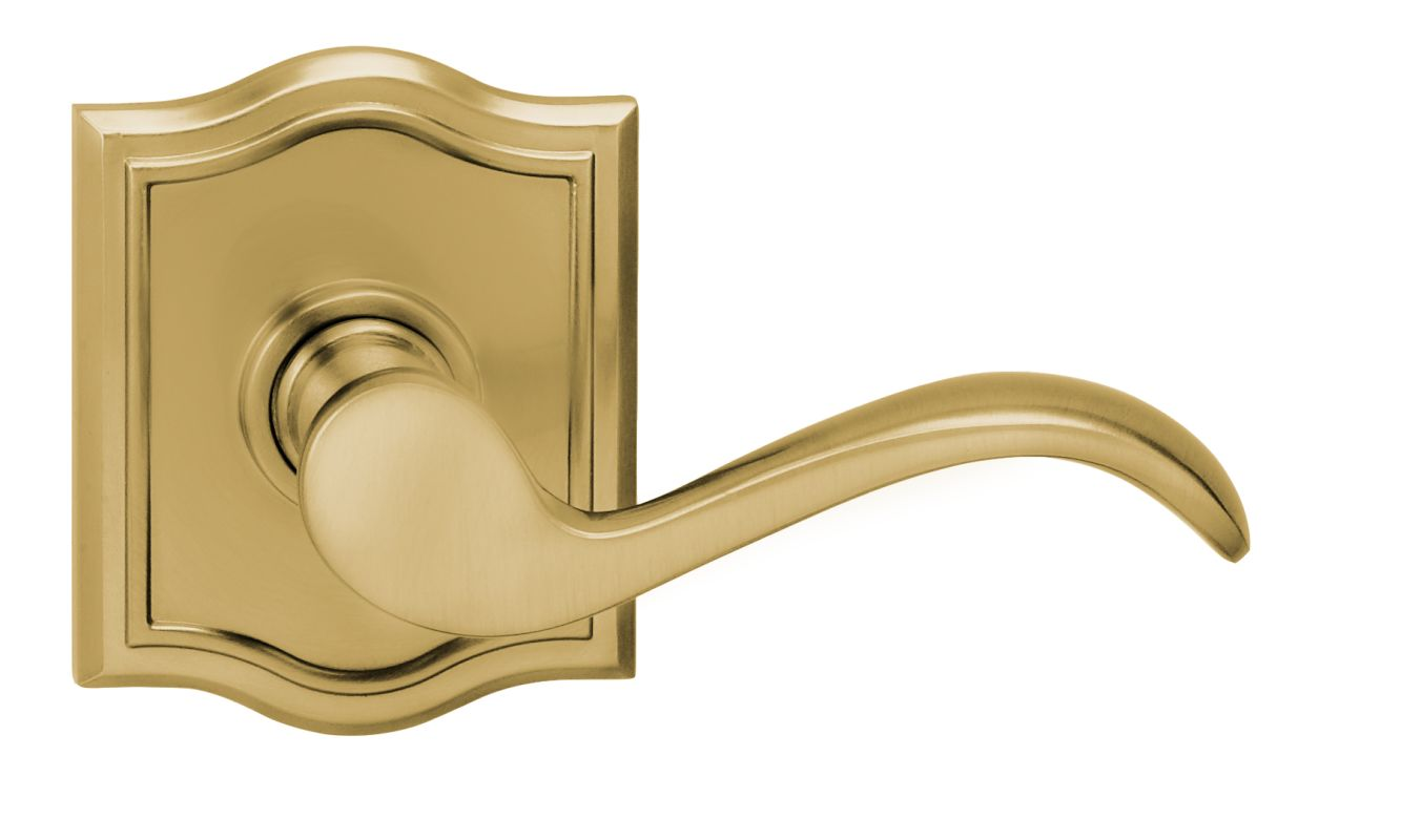Omnia 895ar Us3 Pr Lacquered Brass Privacy Door Lever Set