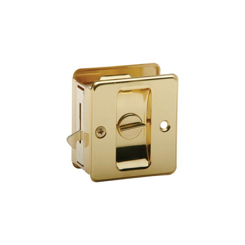 Schlage Sc991b3 Polished Brass Ives Privacy Pocket Door