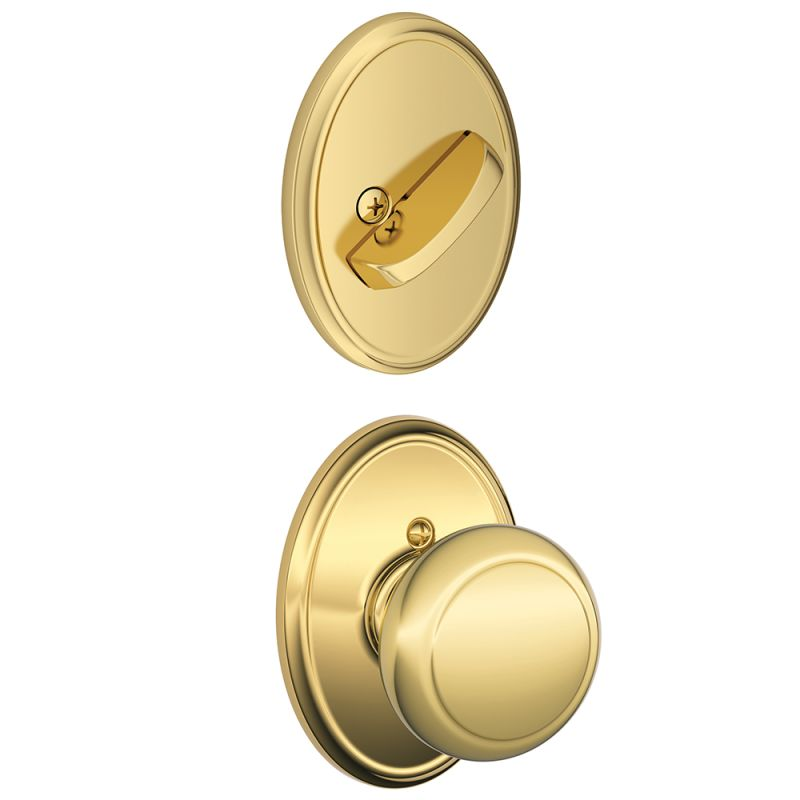 Schlage F94and605wkf Polished Brass Andover Knob Dummy