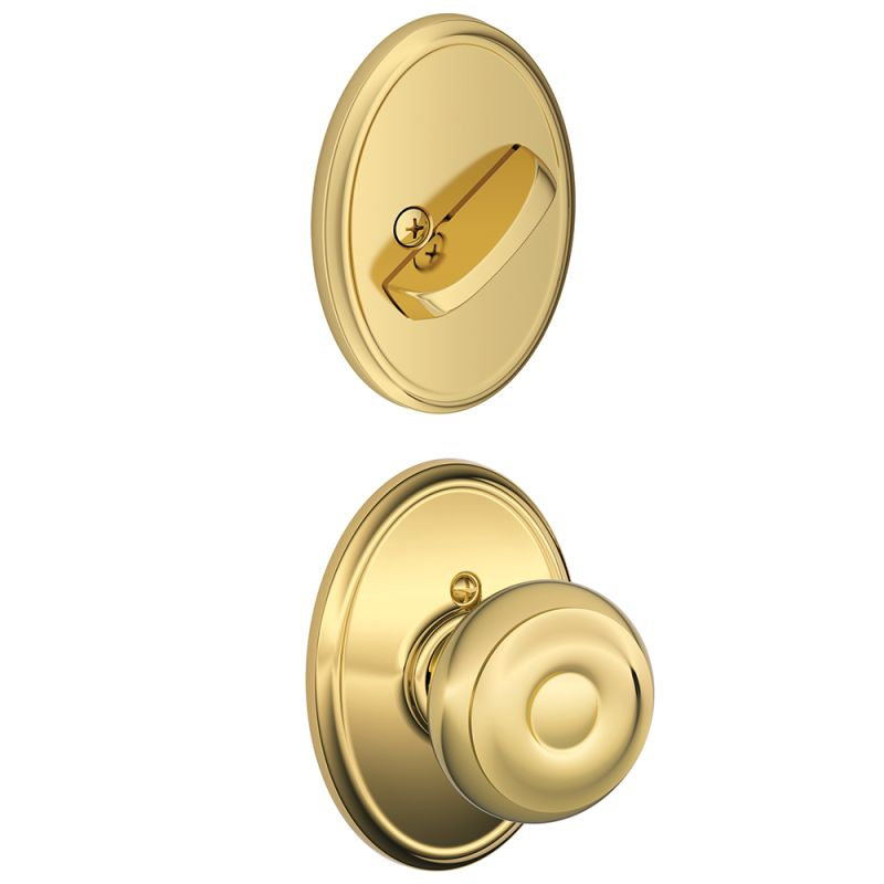 Schlage F94geo605wkf Polished Brass Georgian Knob Dummy