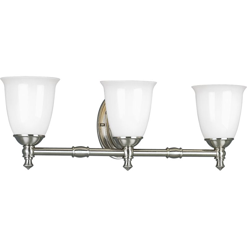 Progress Lighting P3029 09 Brushed Nickel Victorian Three Light Bathroom Fixture With White Opal